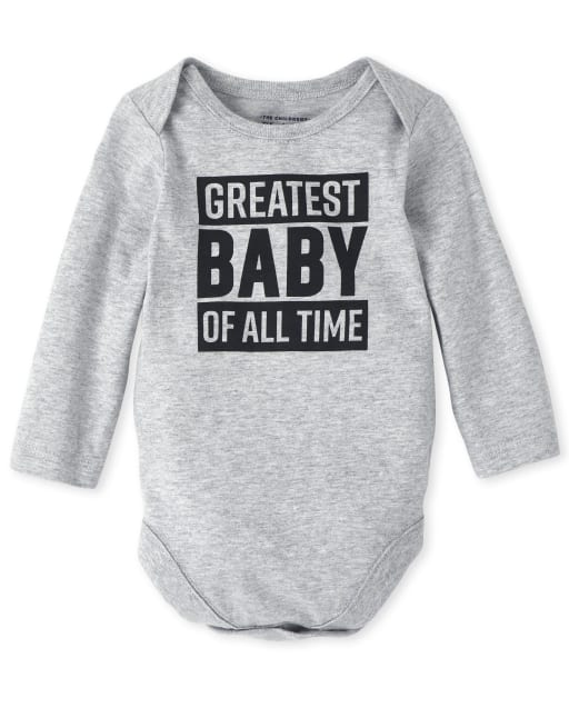 Unisex Baby Long Sleeve 'Greatest Baby Of All Time' Graphic Bodysuit