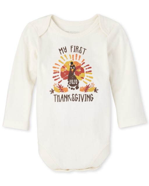 Unisex Baby Long Sleeve 'My First Thanksgiving' Graphic Bodysuit