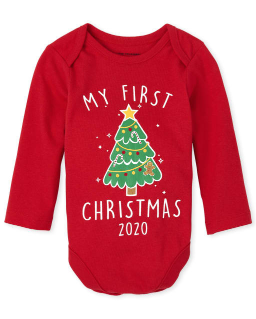 Body unisex de manga larga de Navidad para bebé ' My First Christmas 2020 '