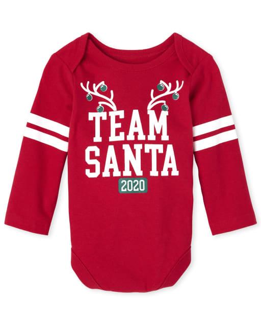 Unisex Baby Matching Family Christmas Long Sleeve 'Team Santa 2020' Graphic Bodysuit