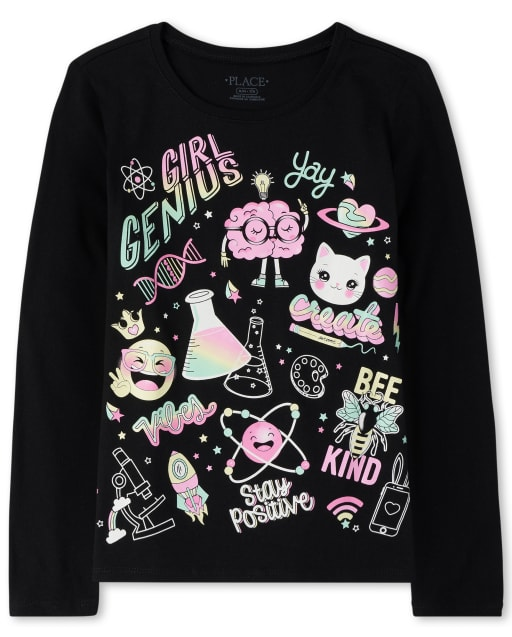 Girls Long Sleeve Glitter 'Girl Genius' Graphic Tee