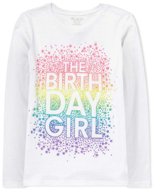 Girls Long Sleeve Birthday Glitter 'The Birthday Girl' Graphic Tee