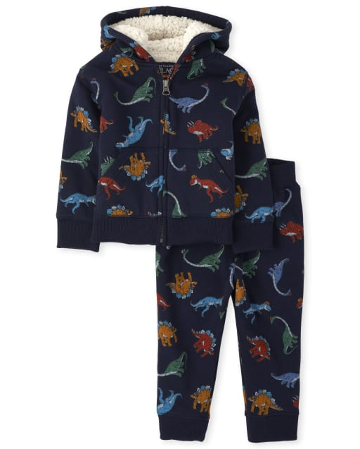 Baby And Toddler Boys Dino Sherpa Zip Up Hoodie And Jogger Pants Outfit Set