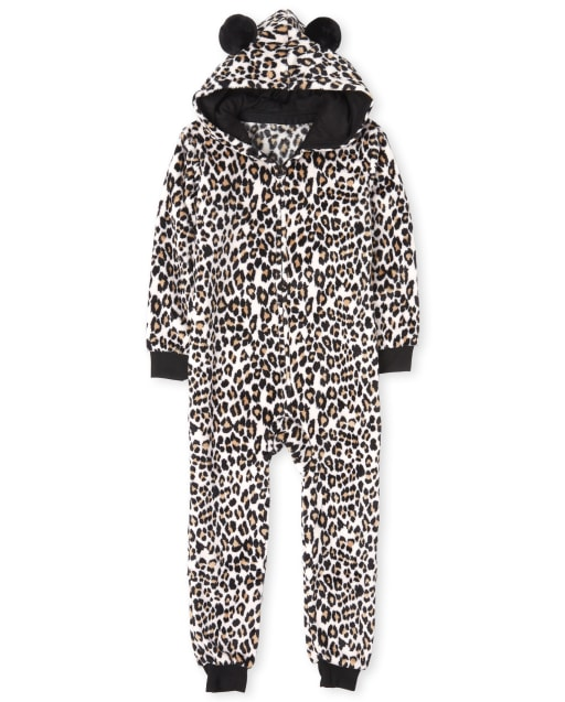 Girls Mommy And Me Long Sleeve Leopard Print Fleece Matching Pom Pom Hooded One Piece Pajamas