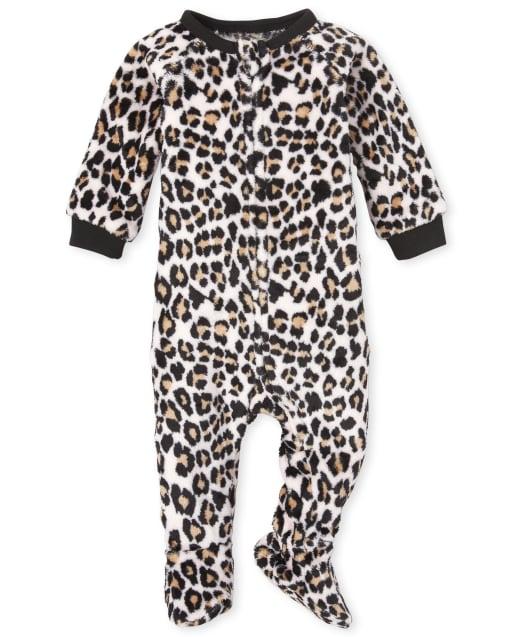 Pijama de una pieza con estampado de leopardo de manga larga con estampado de leopardo para bebés y niñas pequeñas, mamá y yo
