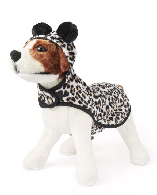 Dog Mommy And Me Pijama de una pieza con capucha y pompones a juego con estampado de leopardo