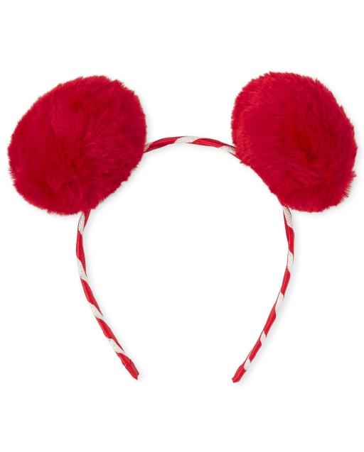 Girls Christmas Candy Cane Faux Fur Pom Pom Headband