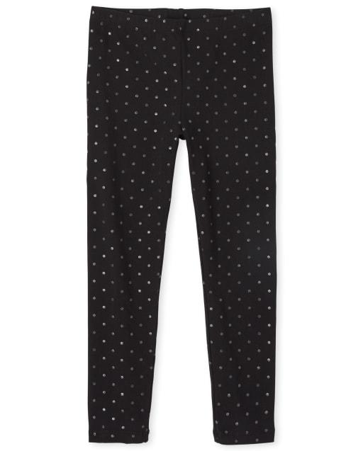Girls Foil Dot Knit Leggings