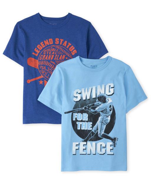 Camiseta estampada de béisbol para niños, paquete de 2