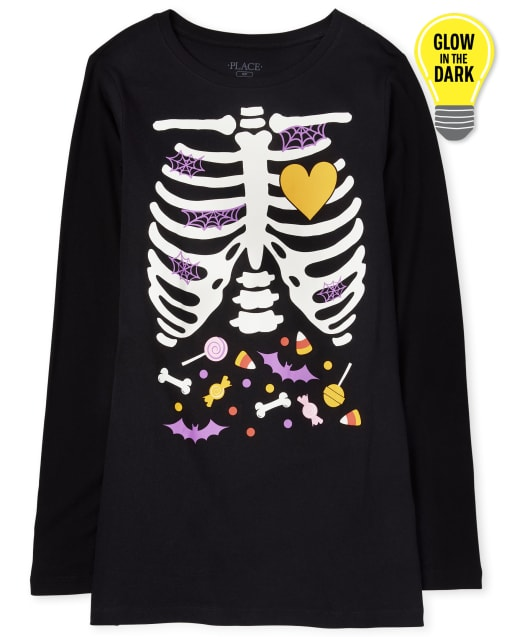 Womens Mommy And Me Halloween Glow Candy Skeleton Matching Graphic Tee