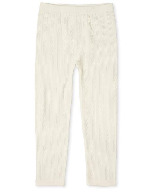Girls Cable Knit Fleece Lined Leggings