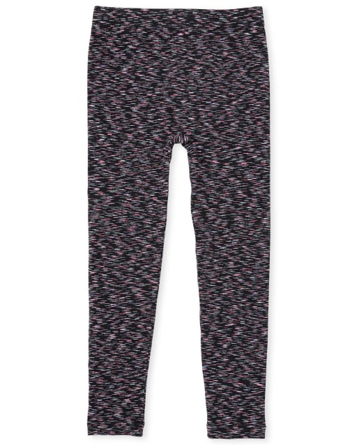 Girls Space Dye Knit Fleece Lined Leggings