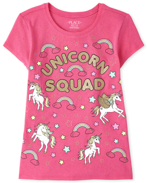Girls Short Sleeve Glitter 'Unicorn Squad' Graphic Tee