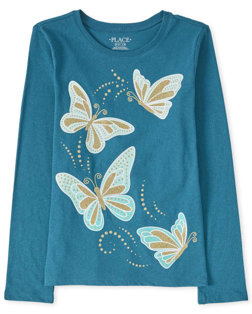 Girls Long Sleeve Glitter Butterfly Graphic Tee