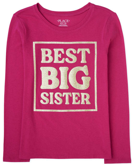 Girls Long Sleeve 'Best Big Sister' Graphic Tee