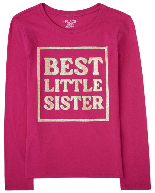 Girls Long Sleeve 'Best Little Sister' Graphic Tee