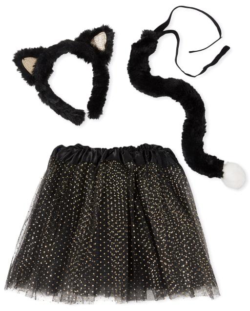 Conjunto de disfraz de falda tutú y cola con orejas de gato de Halloween para niñas