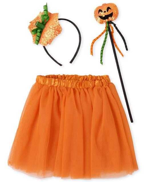 Girls Halloween Pumpkin Headband Wand And Tutu Skirt Costume Set