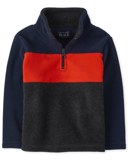 Toddler Boys Long Sleeve Colorblock Microfleece Half Zip Pullover