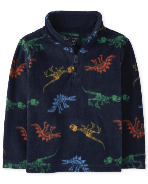 Toddler Boys Long Sleeve Dino Print Microfleece Half Zip Pullover