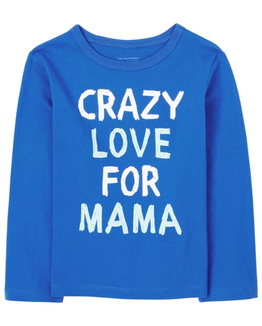Baby And Toddler Boys Long Sleeve 'Crazy Love For Mama' Graphic Tee