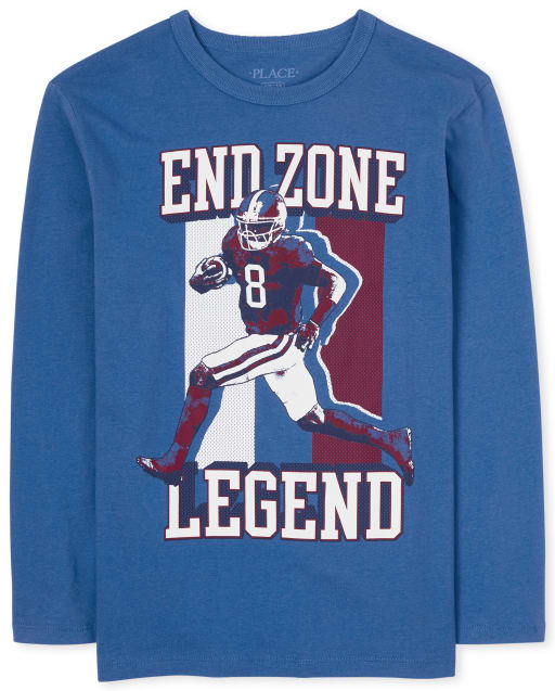 Boys Long Sleeve 'End Zone Legend' Football Graphic Tee