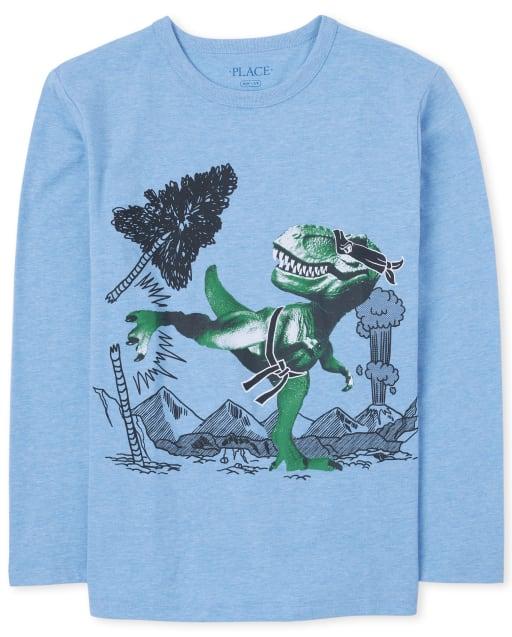 Boys Long Sleeve Dino Ninja Graphic Tee