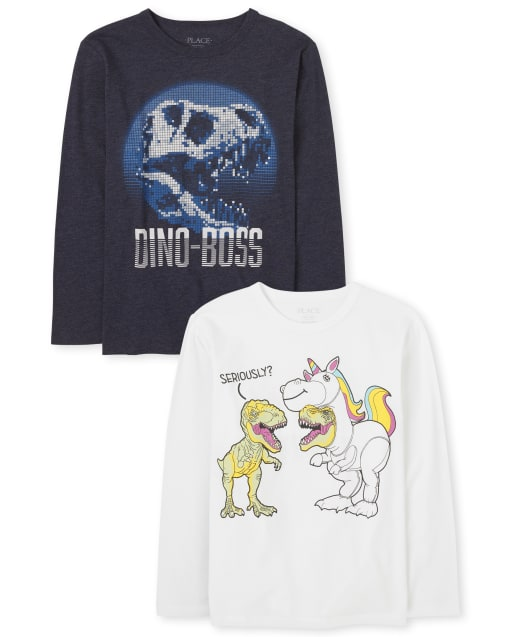 Boys Long Sleeve 'Dino-Boss' And Dino Unicorn Graphic Tee 2-Pack