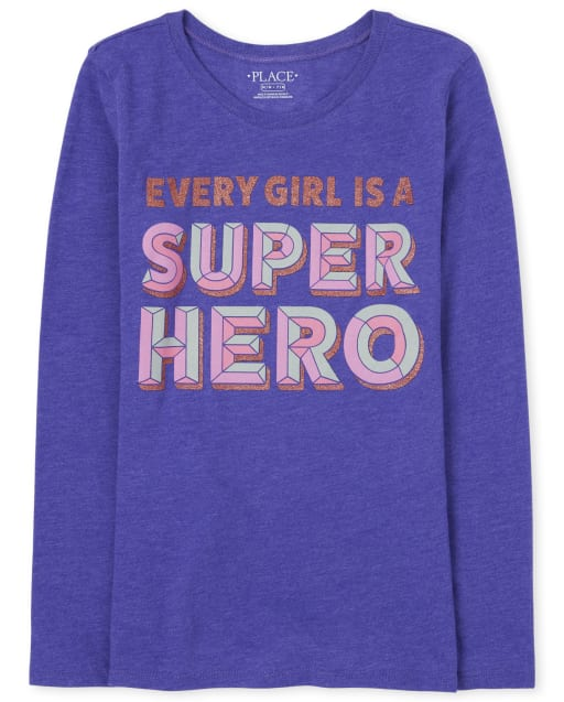 Girls Long Sleeve 'Every Girls Is A Super Hero' Graphic Tee