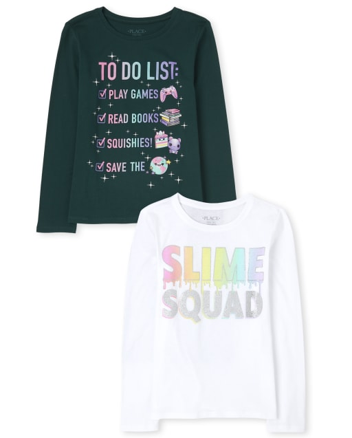 Girls Long Sleeve 'Slime Squad' and 'To Do List' Graphic Tee 2-Pack