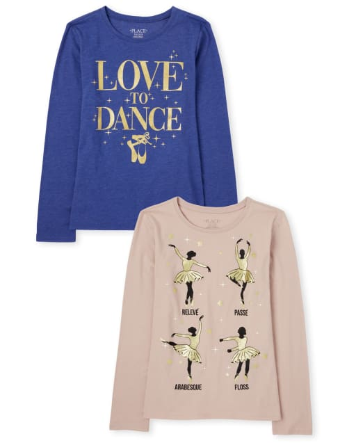 Girls Long Sleeve Glitter 'Love To Dance' And Ballerina Graphic Tee 2-Pack
