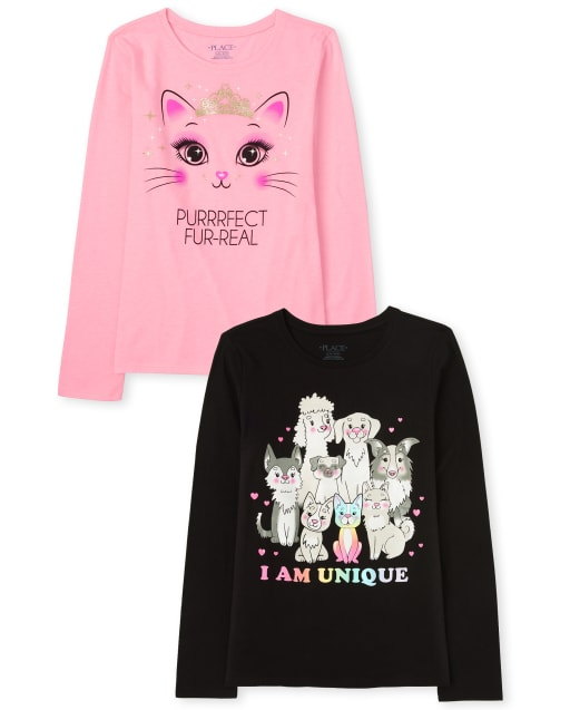 Girls Long Sleeve 'I Am Unique' Cats And Dogs And 'Purrrfect Fur-Real' Cat Graphic Tee 2-Pack