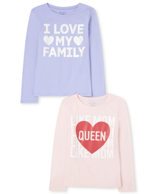 Girls Long Sleeve 'I Love My Family' And 'Queen Like Mom' Graphic Tee 2-Pack