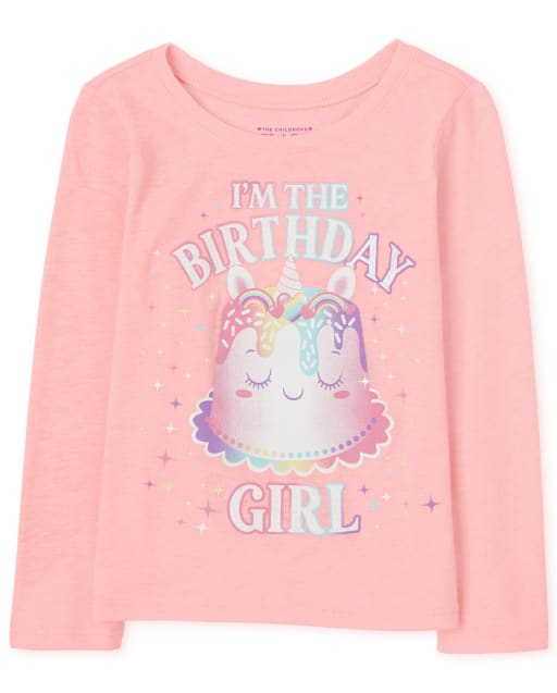 Baby And Toddler Girls Long Sleeve 'I'm The Birthday Girl' Unicorn Cake Graphic Tee