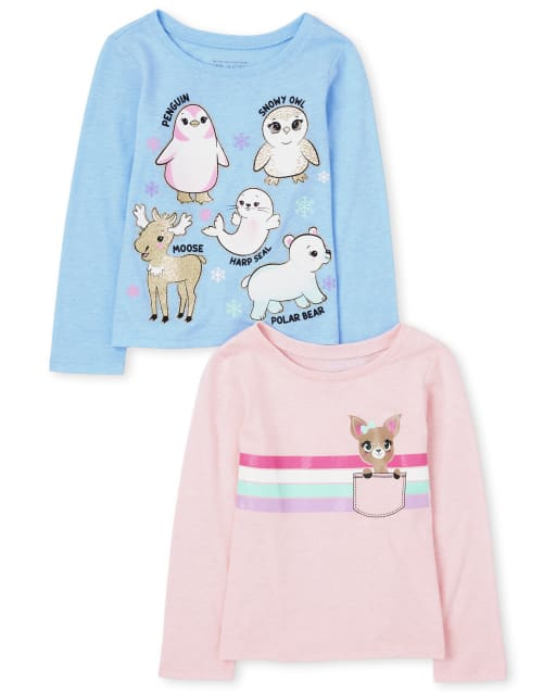 Toddler Girls Long Sleeve Animals Graphic Tee 2-Pack