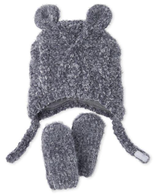 Conjunto de gorro y manoplas de chenilla de punto trenzado para bebés varones