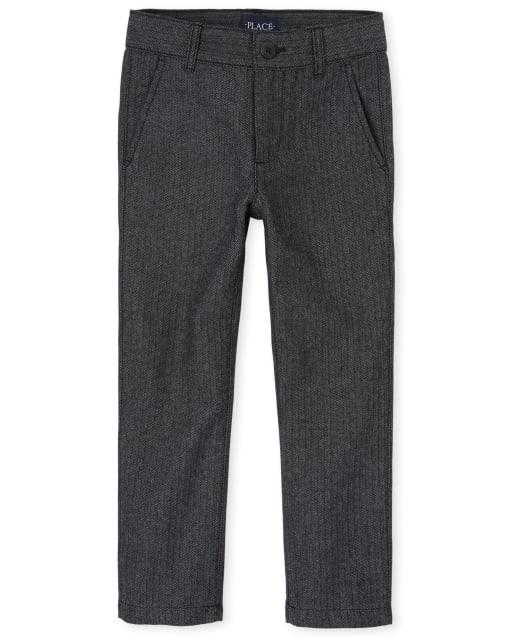 Pantalones de vestir ajustados de espiga para niños