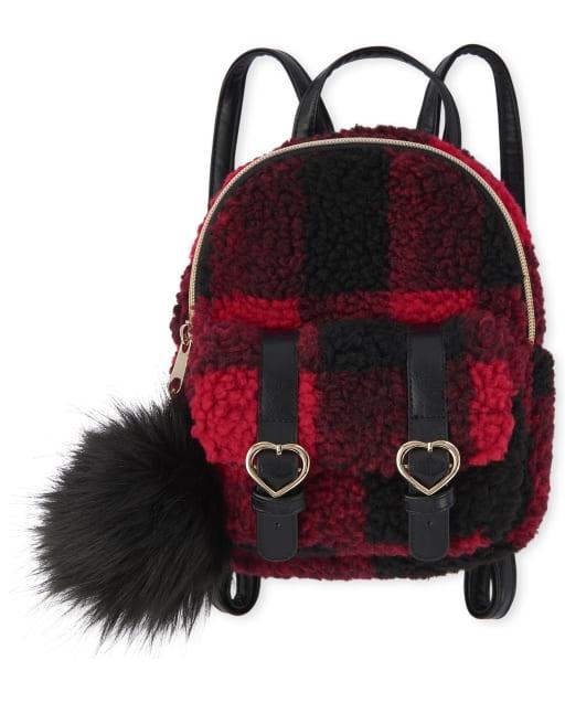 Mini mochila de piel sintética de cuadros búfalo para niñas
