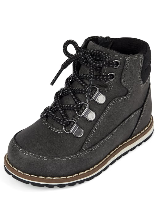 Toddler Boys Lace Up Faux Leather Moc Boots