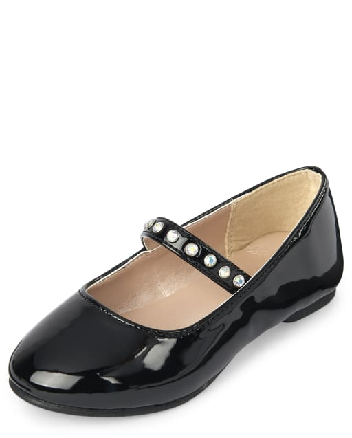 Toddler Girls Jeweled Faux Patent Leather Ballet Flats