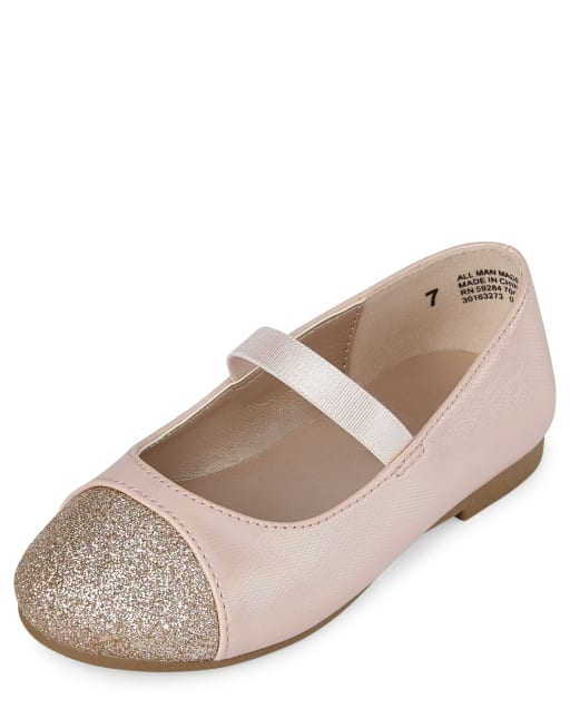 Toddler Girls Glitter Toe Faux Leather Ballet Flats
