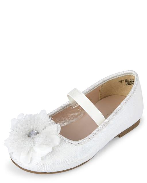 Toddler Girls Flower Faux Leather Ballet Flats