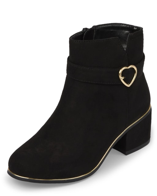 Girls Heart Faux Suede Heel Booties