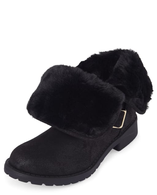Girls Faux Suede Foldover Boots