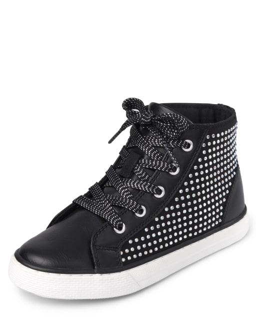 Girls Jeweled Hi Top Sneakers