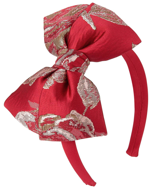 Toddler And Big Girls Metallic Rose Jacquard Bow Headband