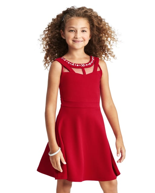 Vestido de jacquard elástico con pedrería para niñas