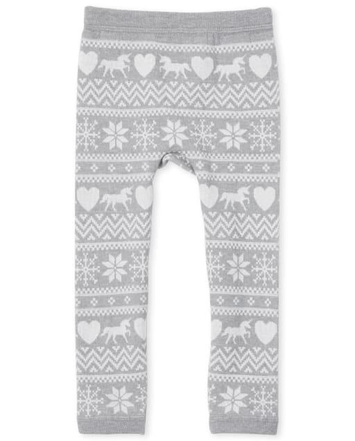 Toddler Girls Fairisle Knit Fleece Lined Leggings