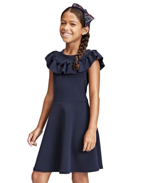 Vestido niña de manga corta de punto con textura con volantes jacquard
