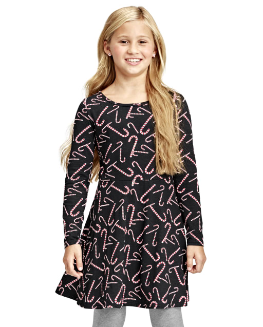 Girls Long Sleeve Print Knit Skater Dress
